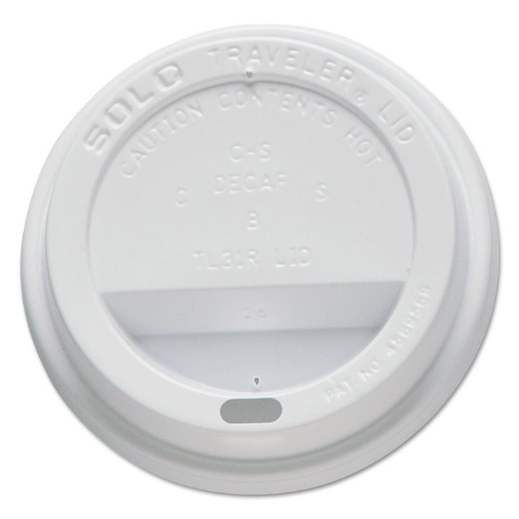 Dart Traveler Drink-Thru Lids, Fits 10oz Cups, White, 100/Pack, 10 Packs/Carton