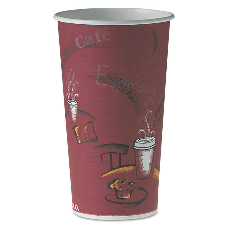 Dart Polycoated Hot Paper Cups, 20 oz, Bistro Design, 600/Carton