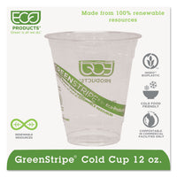 Eco-Products GreenStripe Renewable & Compostable Cold Cups - 12oz., 50/PK, 20 PK/CT