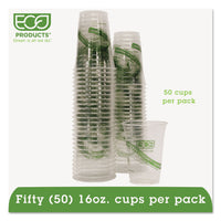 Eco-Products GreenStripe Renewable/Compostable Cold Cups Conv Pack, 16oz, 50/PK, 10 PK/CT