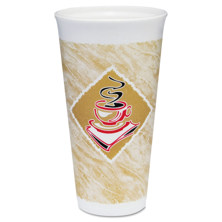 Dart Foam Hot/Cold Cups, 20 oz., Caf G Design, White/Brown with Red Accents