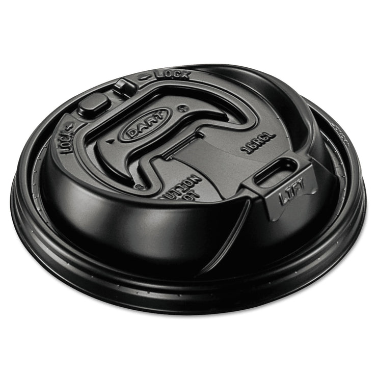 Dart Optima Hot Cup Lids, 12-24oz Cups, Black, 100/Sleeve, 10 Sleeves/Carton