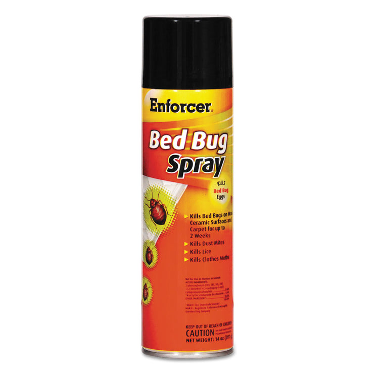 Enforcer Bed Bug Spray, 14 oz Aerosol, For Bed Bugs/Dust Mites/Lice/Moths, 12/Carton