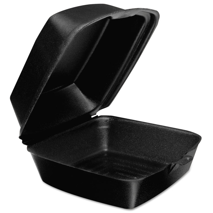 Dart Foam Hinged Lid Containers, 6w x 5 9/10d x 3h, Black, 125/Bag, 4 Bags/Carton