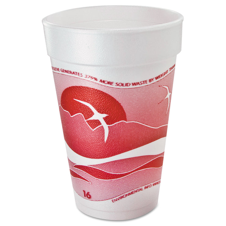 Dart Horizon Foam Cup, Hot/Cold, 16oz., Printed, Cranberry/White, 25/Bag, 40/C T