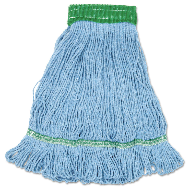 Boardwalk Mop, Cotton, Looped End, Wide Band, Blue, 12/Carton