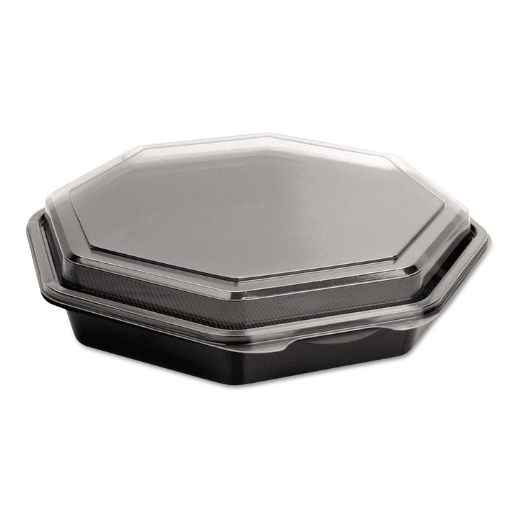 Dart OctaView CF Containers, Black/Clear, 31oz, 9.57w x 9.18d x 1.97h, 100/Carton