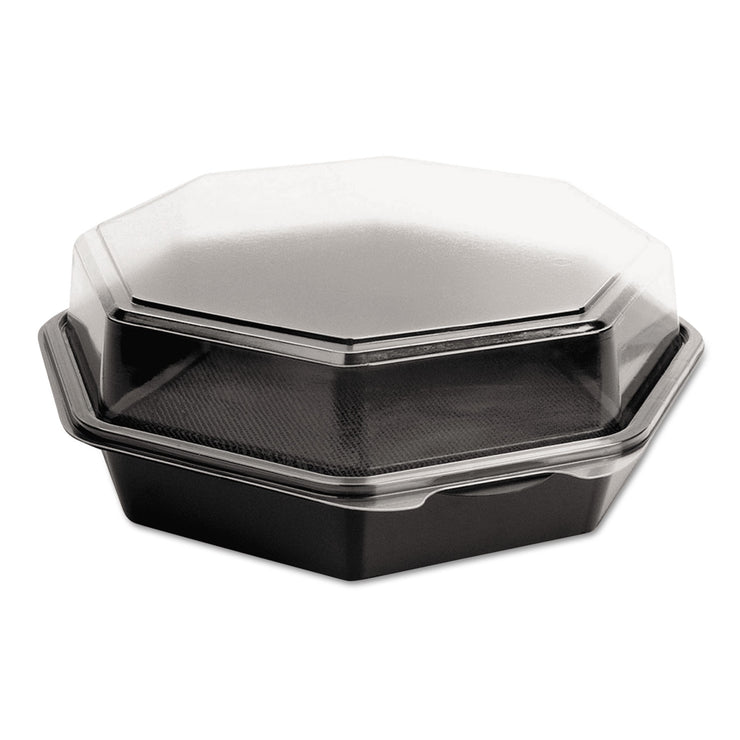 Dart OctaView CF Containers, Black/Clear, 42oz, 9.57w x 9.18d x 3.15h, 100/Carton