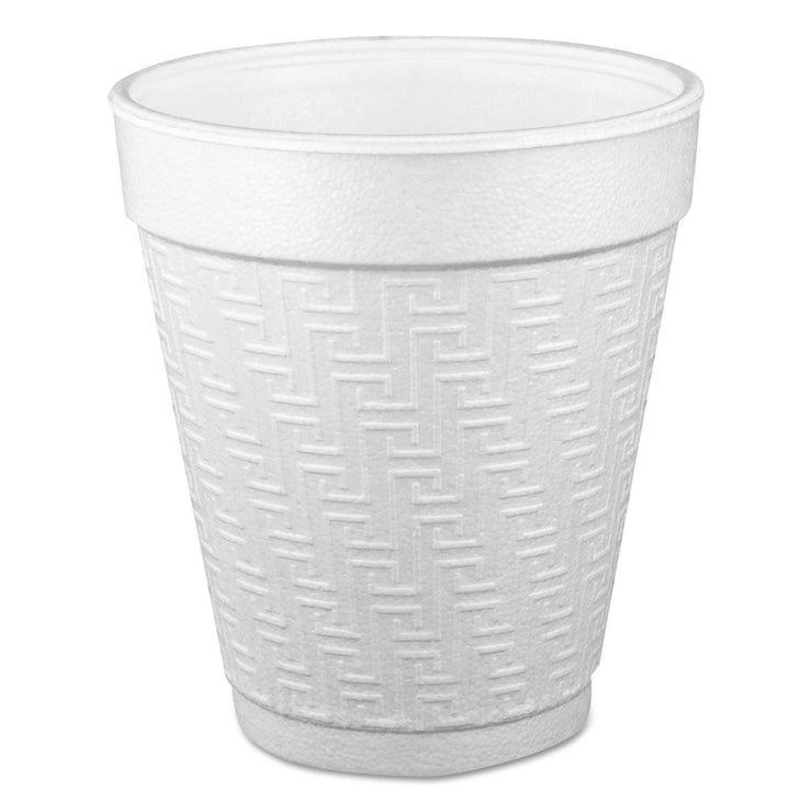 Dart Small Foam Drink Cup, 10 oz, Hot/Cold, White, 25/Bag, 40 Bags/Carton