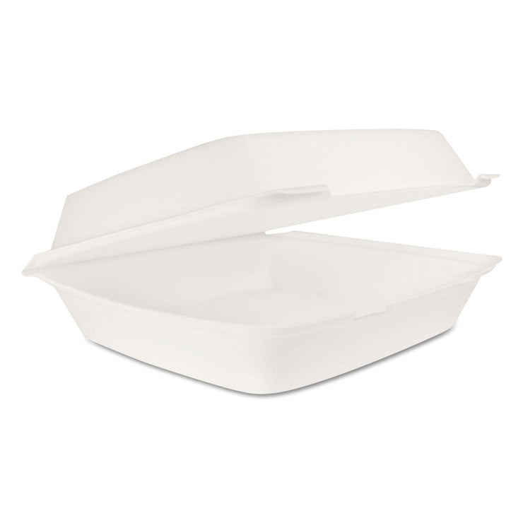 Dart Hinged Lid Carryout Container, White, 10 1/3 x 3 1/2 x 9 1/2, 100/BG, 2 BG/CT