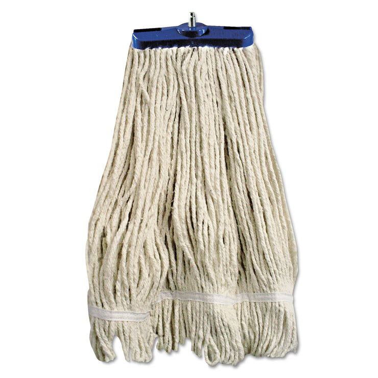 Boardwalk Mop Head, Lie-Flat Head, Cotton Fiber, 24oz, White, 12/Carton
