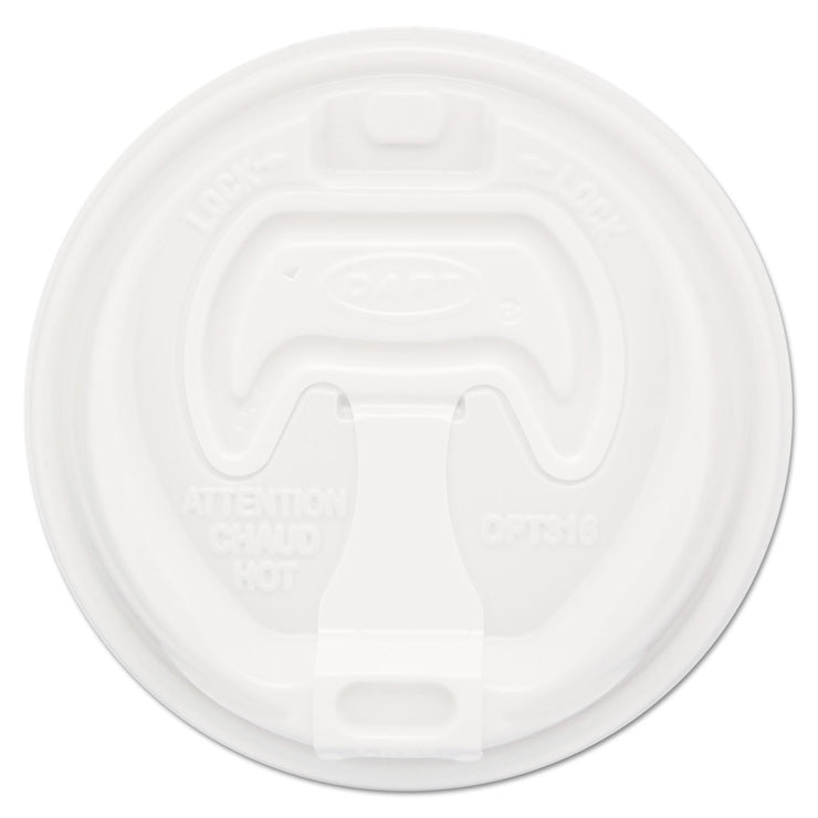 Dart Optima Reclosable Lid, 12-24oz Foam Cups, White, 100/Bag