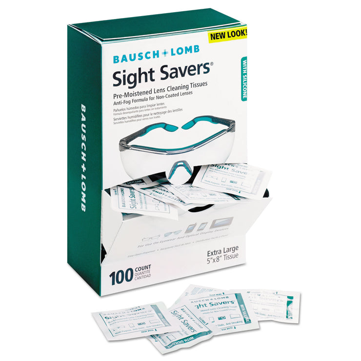 Bausch & Lomb Sight Savers Pre-Moistened Anti-Fog Tissues with Silicone, 100/Bo x