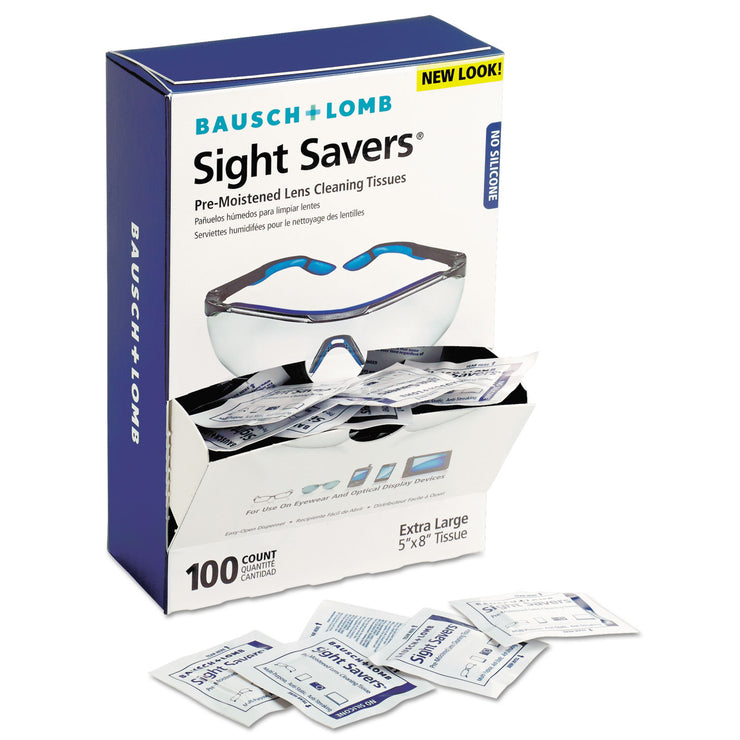 Bausch & Lomb Sight Savers Premoistened Lens Cleaning Tissues, 100/Box, 10 Boxes/Carton