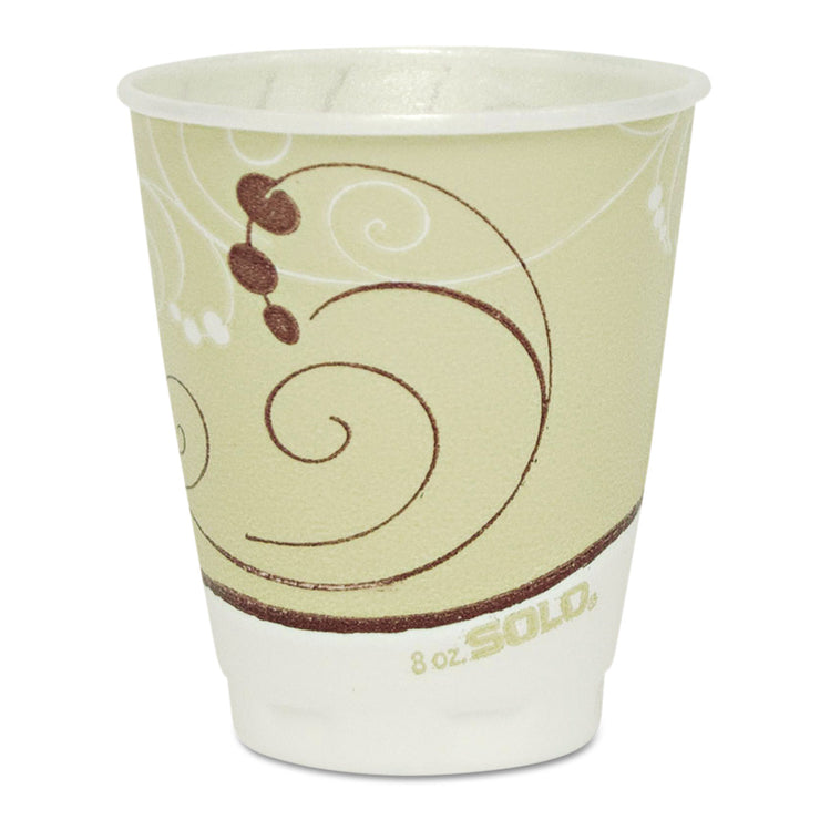 Dart Symphony Design Trophy Foam Hot/Cold Drink Cups, 8oz, Beige, 1000/Carton
