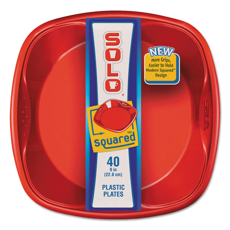 Dart Solo Squared Plastic Dinnerware, Plate, 9 x 9, Red/Blue, 40/Pack, 8 Pack/Carton