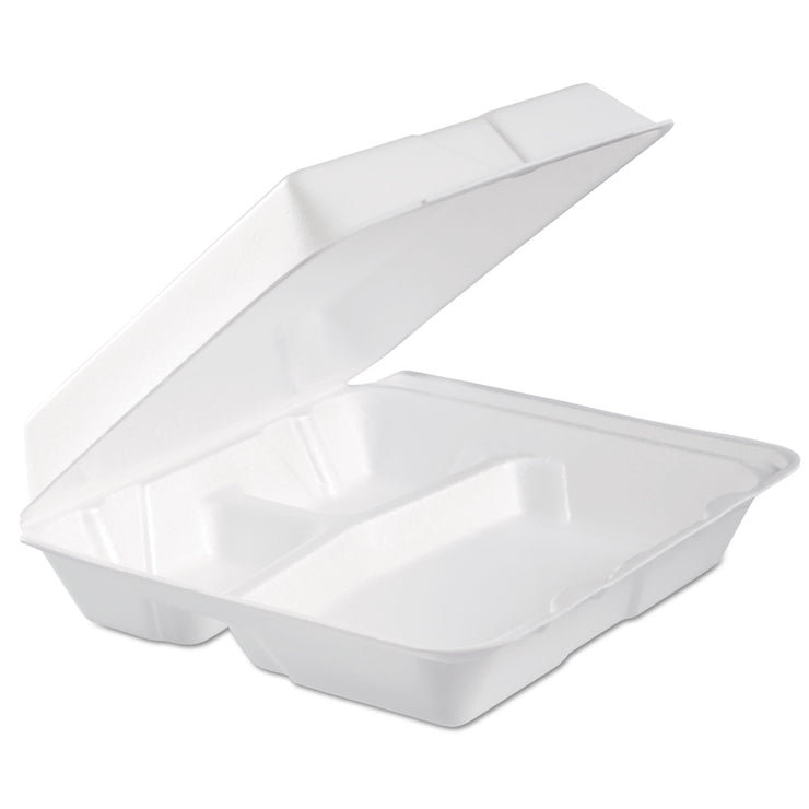 Dart Foam Hinged Lid Container, 3-Comp, 9.3 x 9 1/2 x 3, White, 100/Bag, 2 Bag/Carton