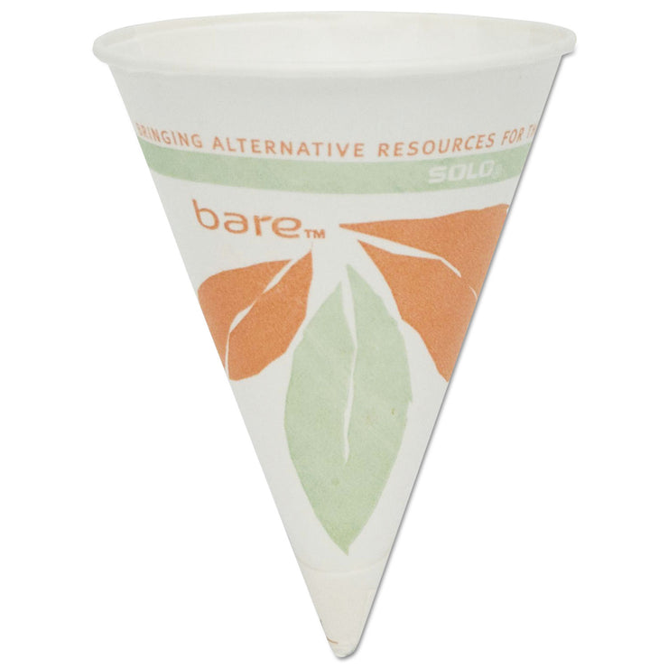 Dart Bare Eco-Forward Paper Cone Water Cups, 4oz, White, 200/Pack, 25 Packs/Carton