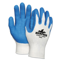 MCR Safety FlexTuff Latex Dipped Gloves, White/Blue, Large, 12 Pairs