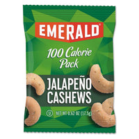 Emerald 100 Calorie Pack Nuts, Jalapeno Cashews, 0.62 oz Pack, 7/Box
