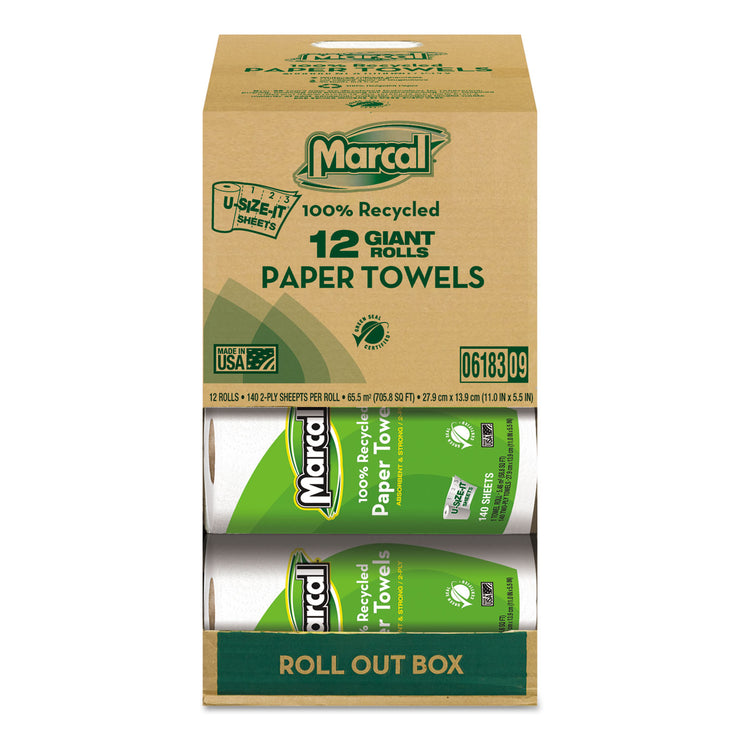 Marcal 100% Recycled Roll Towels, 2-Ply, 5 1/2 x 11, 140 Sheets, 12 Rolls/Carton