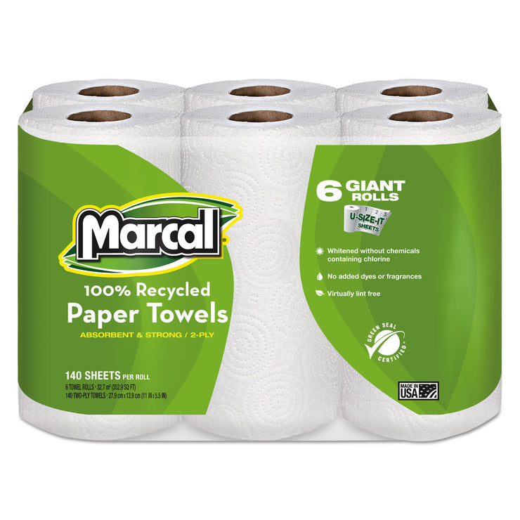 Marcal 100% Recycled Roll Towels, 2-Ply, 5 1/2 x 11, 140/Roll, 6 Rolls/Pack