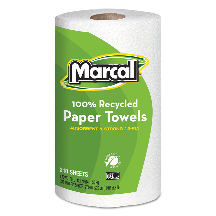 Marcal 100% Recycled Roll Towels, 2-Ply, 8 3/4 x 11, 210 Sheets, 12 Rolls/Carton