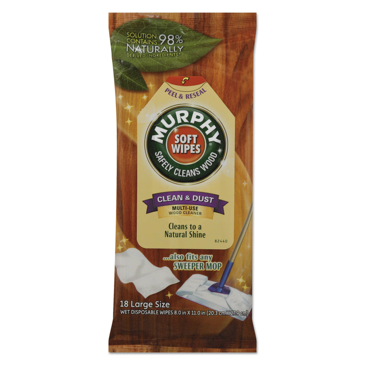 Murphy Oil Soap Soft Wipe, Cloth, 8 x 11, White, 18/Pack