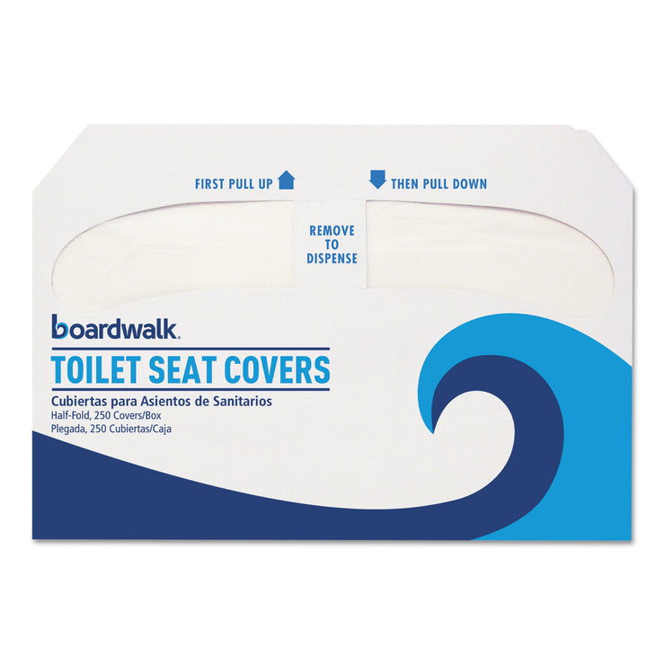 Boardwalk Premium Half-Fold Toilet Seat Covers, 250 Covers/Sleeve, 10 Sleeves/Carton