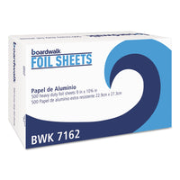 Boardwalk Pop-Up Aluminum Foil Wrap Sheets, 9 x 10 3/4, Silver, 500/Box, 6 Boxes/Carton
