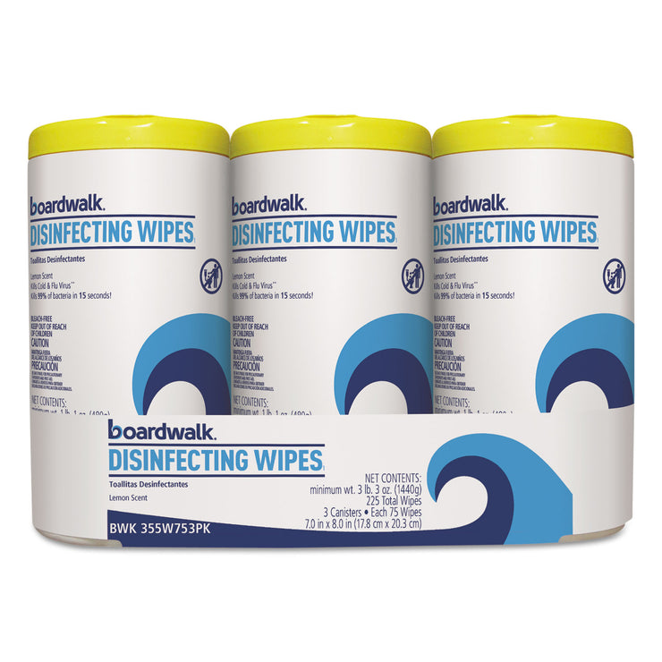 Boardwalk Disinfecting Wipes, 8 x 7, Lemon Scent, 75/Canister, 3 Canisters/Pack, 4/Pks/Ct
