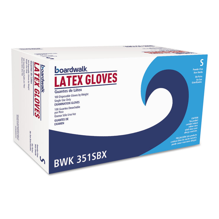 Boardwalk Powder-Free Latex Exam Gloves, Small, Natural, 4 4/5 mil, 1000/Carton