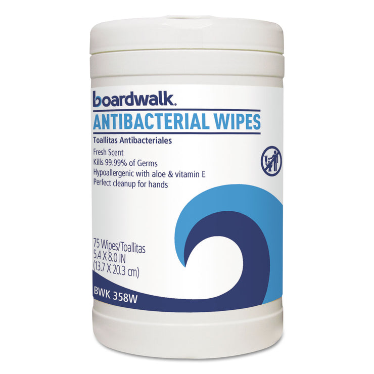 Boardwalk Antibacterial Wipes, 8 x 5 2/5, Fresh Scent, 75/Canister, 6 Canisters/Carton