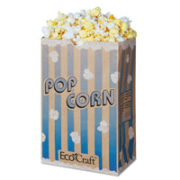 Bagcraft EcoCraft Grease-Resistant Popcorn Bag, 85 oz, Blue Stripe/Natural, 500/Carton