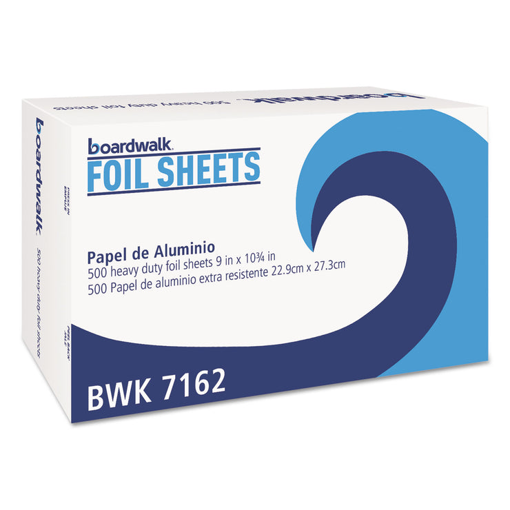 Boardwalk Pop-Up Aluminum Foil Wrap Sheets, 9 x 10 3/4, Silver, 500/Box