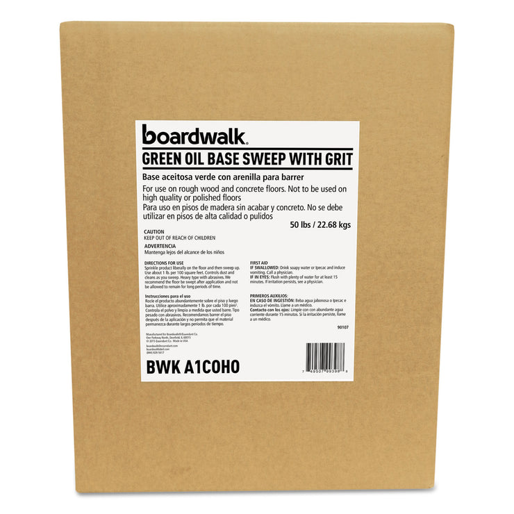 Boardwalk Oil-Based Sweeping Compound, Grit, Green, 50lbs, Box