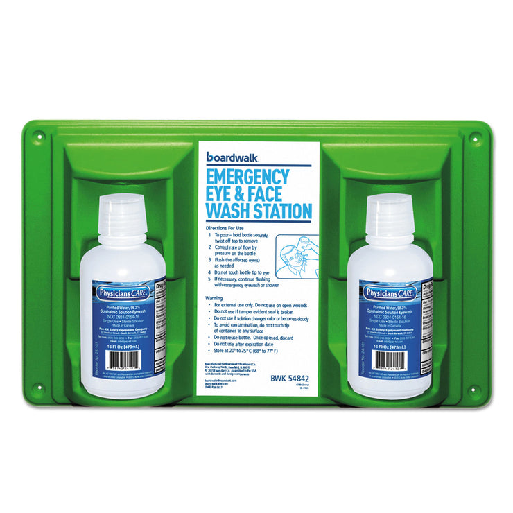 Boardwalk Emergency Eyewash Station, 16 oz Bottle, 2 Bottles/Station