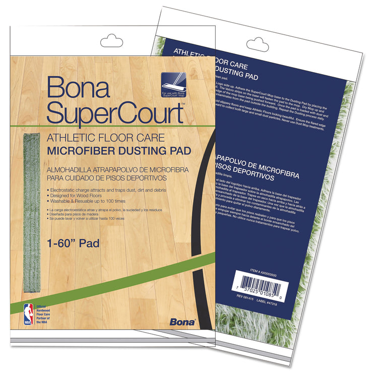 Bona SuperCourt Athletic Floor Care Microfiber Dusting Pad, 60