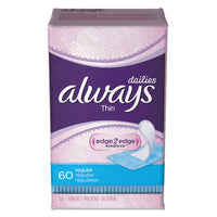 Always Dailies Thin Liners, Regular, 60/Pack, 12 Pack/Carton