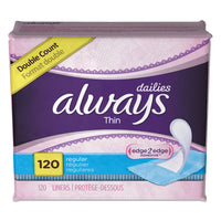 Always Dailies Thin Liners, Regular, 120/Pack