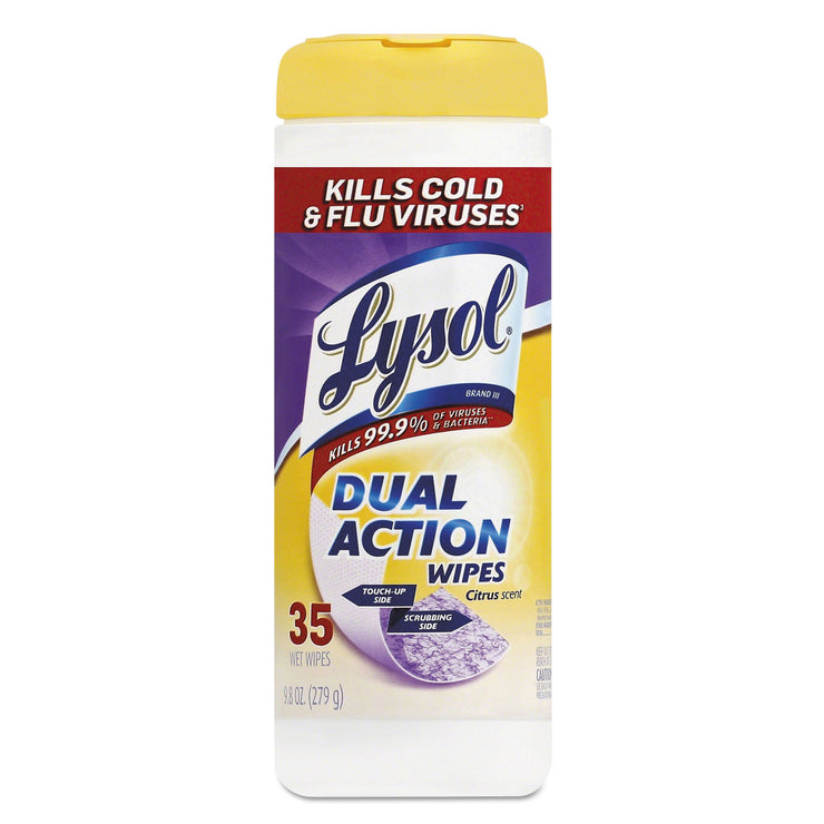 LYSOL Brand Disinfecting Wipes, Dual Action, Citrus, 7 x 8, 35/Canister