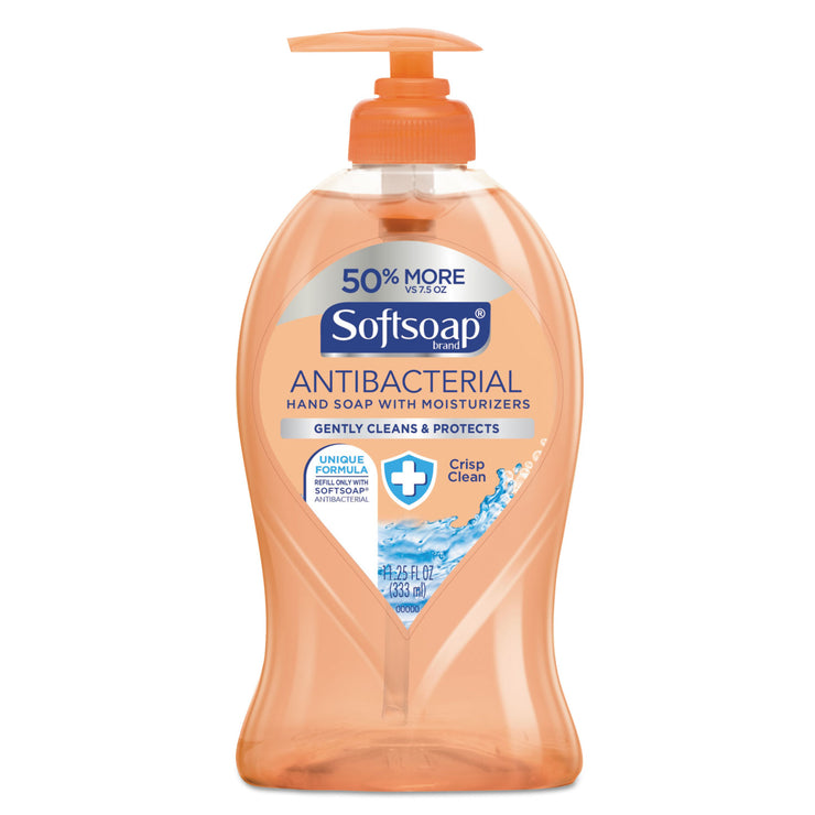 Softsoap Antibacterial Hand Soap, Crisp Clean, 11 1/4 oz Pump Bottle, 6/Carton