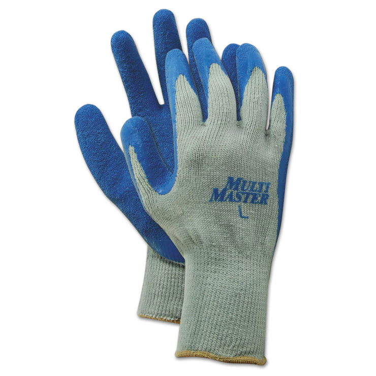 Boardwalk Rubber Palm Gloves, Gray/Blue, Large, 1 Dozen