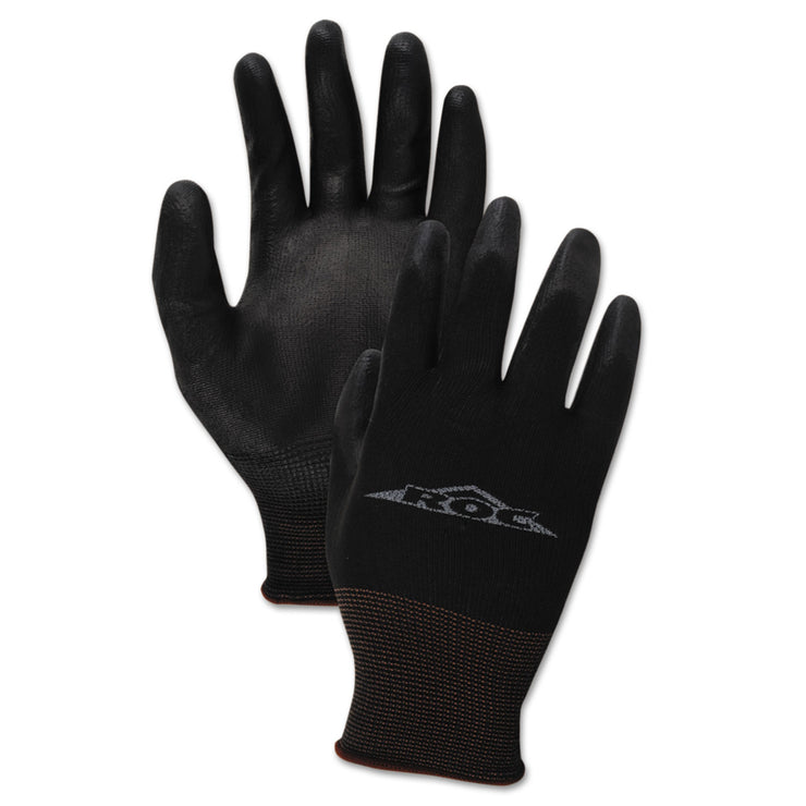 Boardwalk PU Palm Coated Gloves, Black, Size 8 (Medium), 1 Dozen