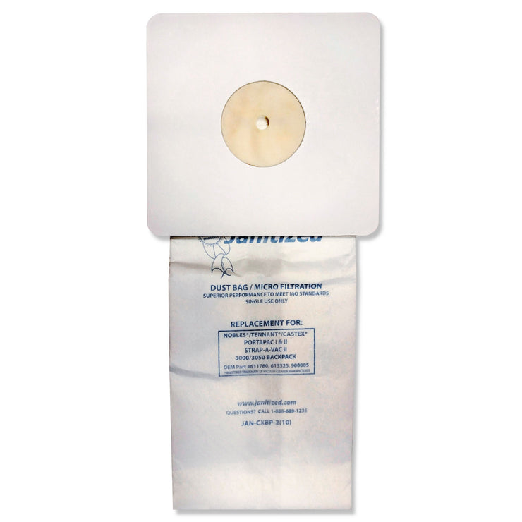Janitized Vacuum Filter Bags Designed to Fit Nobles Portapac/Tennant, 100/CT