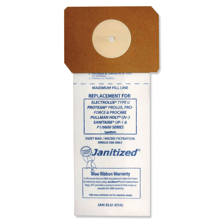 Janitized Vacuum Filter Bags Designed to Fit Electrolux Type U Upright, 100/CT