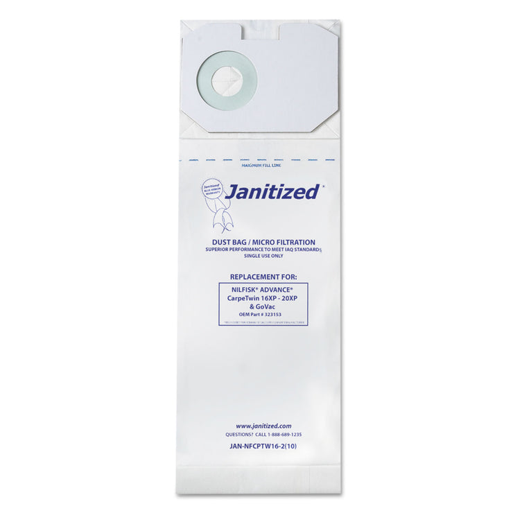 Janitized Vacuum Filter Bags Designed to Fit Nilfisk CarpeTwin Upright 16XP/20XP, 100/CT