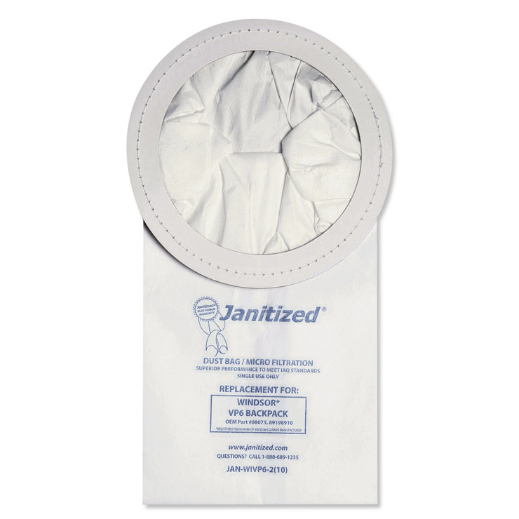 Janitized Vacuum Filter Bags Designed to Fit Windsor Backpack Model V6, 100/CT