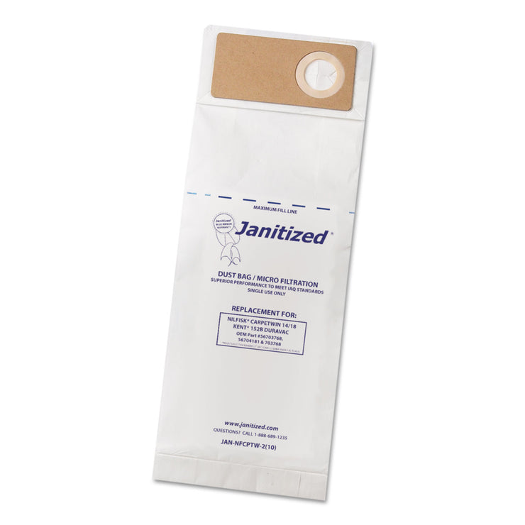 Janitized Vacuum Filter Bags Designed to Fit Nilfisk CarpeTwin Upright 14/18/Advac, 100/CT