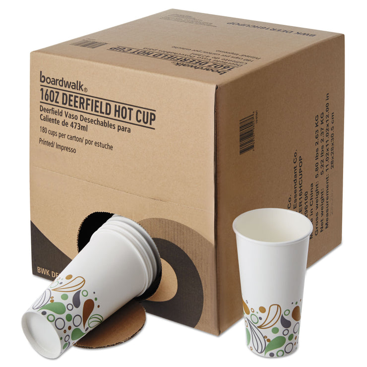 Boardwalk Convenience Pack Paper Hot Cups, 16 oz, Deerfield Print, 180/Carton